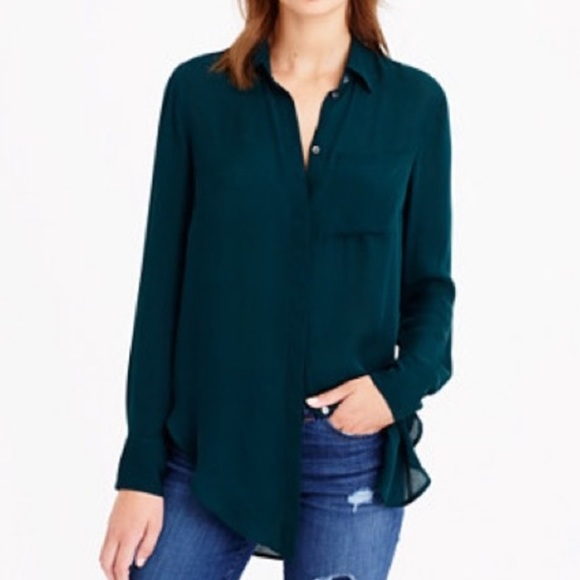 J. Crew Tops - NWT J. Crew Silk Emerald Green Button Down Shirt